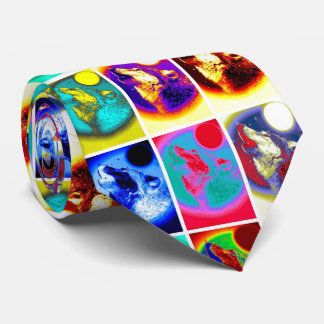 Colorful Pop Art Style Wolf Neck Tie