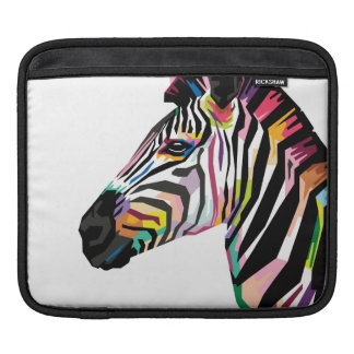 Colorful Pop Art Zebra on White Background Sleeve For iPads
