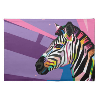 Colorful Pop Art Zebra Portrait Cloth Placemat