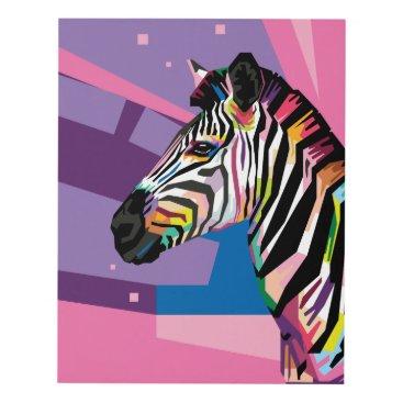 Beach Themed Colorful Pop Art Zebra Portrait Panel Wall Art