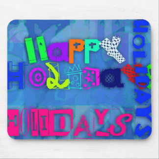 Colorful Pop Happy Holidays Mousepad