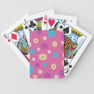 Colorful popart flower pattern poker cards