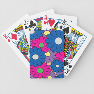 Colorful popart flowers pattern bicycle card decks