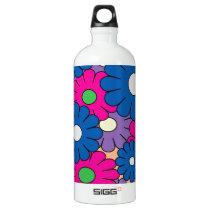 Colorful popart flowers pattern water bottle