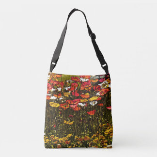 COLORFUL POPPIES REACHING FOR THE SUN CROSSBODY BAG
