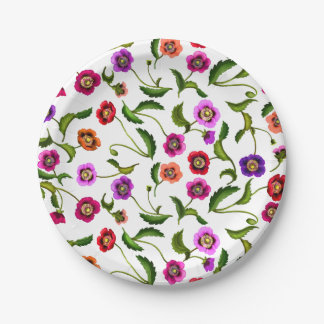 Colorful Poppy Garden Flowers Paper Plates 7 Inch Paper Plate