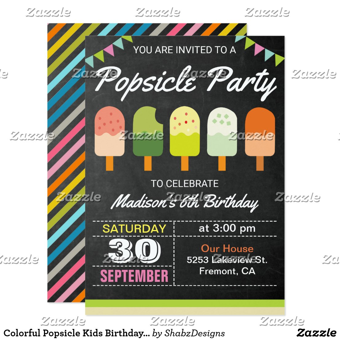 Colorful Popsicle Kids Birthday Party Invitation
