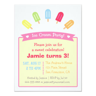 Colorful Popsicle Summer Party Invitations