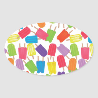 Colorful Popsicles! Oval Sticker