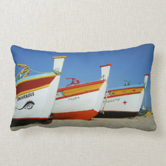 Colorful Portuguese fishermen boats at the beach Pillow