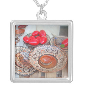 Colorful Pottery at an Artisan Fair Silver Plated Necklace