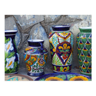 Colorful pottery for sale in downtown Loreto Postcard