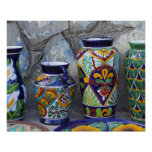 Colorful pottery for sale in downtown Loreto, Posters