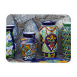 Colorful pottery for sale in downtown Loreto, Rectangle Magnets