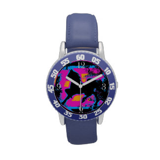 Colorful Prancing High-stepping Horse Silhouette Wristwatches