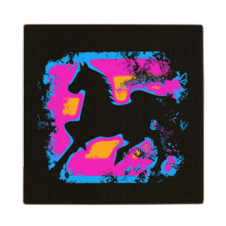 Colorful Prancing High-stepping Horse Silhouette Wood Coaster