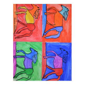 Colorful prancing horses postcard