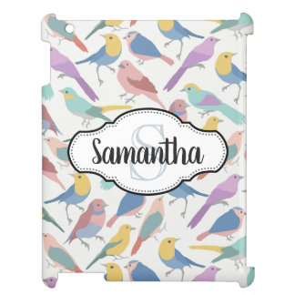 Colorful Pretty Birds Monogrammed Case For The iPad