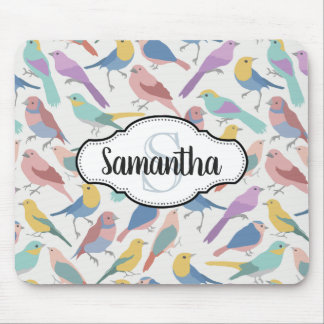 Colorful Pretty Birds Monogrammed Mouse Pad