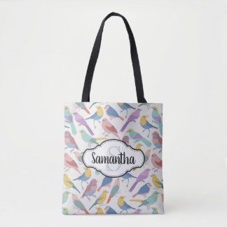 Colorful Pretty Birds Monogrammed Tote Bag