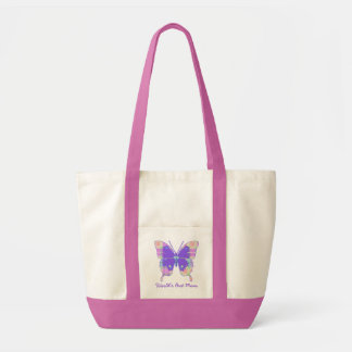 Colorful Pretty Plaid Butterfly Canvas Tote Tote Bags