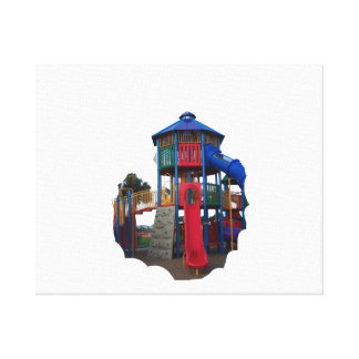 Colorful Primary Colored Slides Playground Equipme Stretched Canvas Print