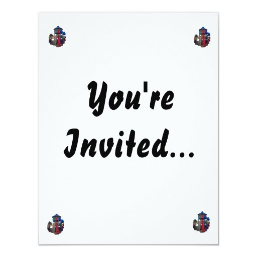 """Colorful Primary Colored Slides Playground Equipme 4.25"""" X 5.5"""" Invitation Card"""