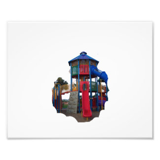 Colorful Primary Colored Slides Playground Equipme Photograph