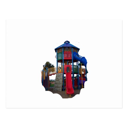 Colorful Primary Colored Slides Playground Equipme Postcard