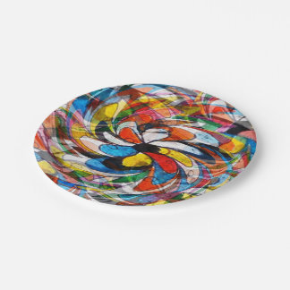Colorful Primary Floral Abstract Paper Plate