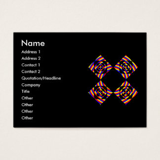 Colorful Primary Stripe Flowers. On Black. Business Card