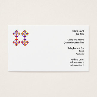 Colorful Primary Stripe Flowers. On White. Business Card