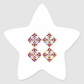 Colorful Primary Stripe Flowers. On White. Star Stickers