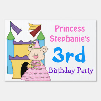 Colorful Princess Birthday Party Yard Sign