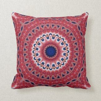 Colorful Printed Medallion Pattern Throw Pillow