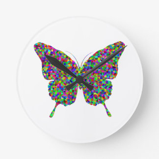 Colorful Prismatic Butterfly with Open Wings Round Clock