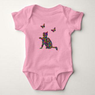 Colorful Prismatic Cat And Butterflies Bodysuit