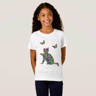 Colorful Prismatic Cat And Butterflies Girl's Tee