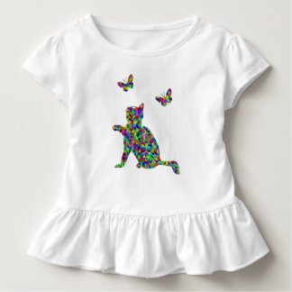 Colorful Prismatic Cat & Butterflies Toddlers Tee