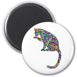 Colorful Prismatic Cat Licking Paw Magnet