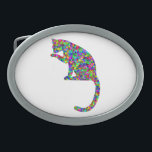 """Colorful Prismatic Cat Licking Paw Oval Belt Buckle<br><div class=""""desc"""">This item features an amazingly awesome design of a colorful prismatic cat licking its paw.  Makes a great gift!  For more items with great designs like this one check out https://www.zazzle.com/prismaticbliss.</div>"""
