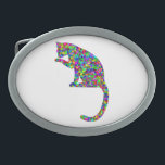 "Colorful Prismatic Cat Licking Paw Oval Belt Buckle<br><div class=""desc"">This item features an amazingly awesome design of a colorful prismatic cat licking its paw.