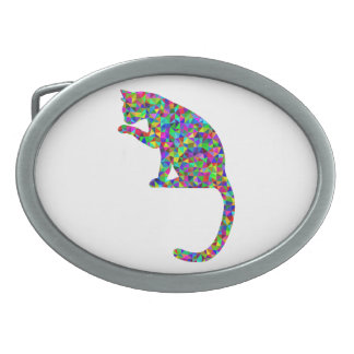 Colorful Prismatic Cat Licking Paw Oval Belt Buckle