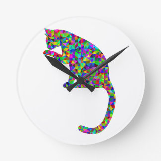 Colorful Prismatic Cat Licking Paw Round Clock