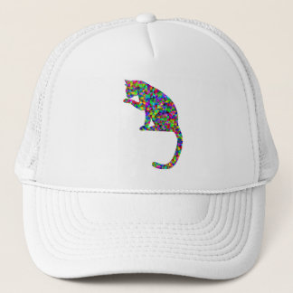 Colorful Prismatic Cat Licking Paw Trucker Hat