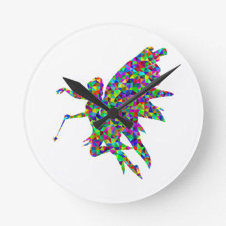 Colorful Prismatic Fairy Holding Out a Wand Round Clock