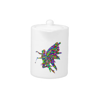 Colorful Prismatic Fairy Holding Out a Wand Teapot