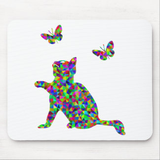 Colorful Prismatic Kitten Playing-With-Butterflies Mouse Pad