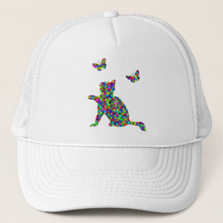 Colorful Prismatic Kitten Playing-With-Butterflies Trucker Hat