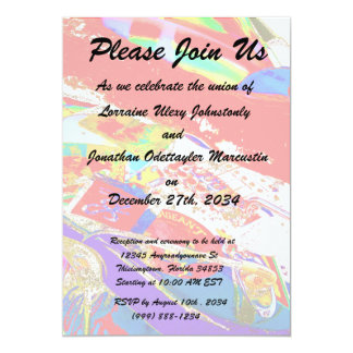 colorful psychadelic guitar player 5x7 paper invitation card